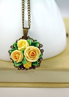 yellow rose pendant necklace ,handmade flowers necklace , antique jewelry , bronze