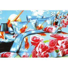 Růžová růže modrý ložní povlak - dumdekorace.cz Abstract, Artwork, Painting, Blankets, Bedding, Summary, Work Of Art, Auguste Rodin Artwork, Painting Art