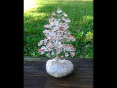 Mini Glass Cherry Quartz Evergreen Gem Tree Beaded Bonsai