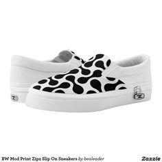 BW Mod Print Zipz Slip On Sneakers Printed Shoes