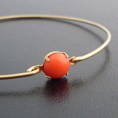 Coral Red Bangle Bracelet  Alessa Red Coral by FrostedWillow