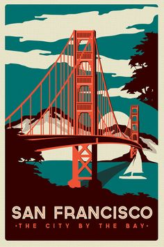 San Francisco Golden Gate Bridge Retro Vintage silk screen printed poster / Ancienne affiche publicitaire, vieille publicité