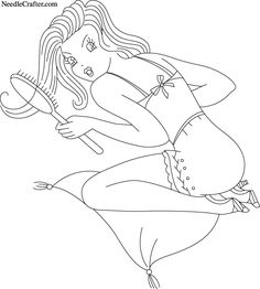 Long hair pin-up girl embroidery pattern