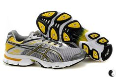 Men Asics Gel Stratus 2.1 Shoes Dark Grey Silver Yellow