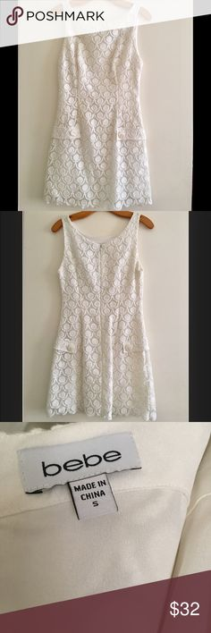 Off white lace mini dress 🙊🙈🙉 A sleeveless Peculiar lace fabric MINI dress WITH a beautiful bottom detail Round neckline and solid lining with a fit and flare silhouette and back zipper closure.  Used onces only bebe Dresses Mini