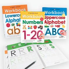 """Product # RN5086 - $19.98 Help develop your child's key skills with simple exercises and activities that can be practiced again and again! Fantastic workbooks each feature 26 wipe-clean pages to help kids with their Upper and Lowercase Alphabet and Numbers. Ages 3+. Each book: 12""""L x 9""""W."""