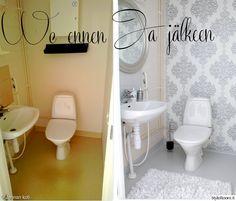 wc,remontti,tapetointi,hopea tapetti,harmaa,valkoinen,diy