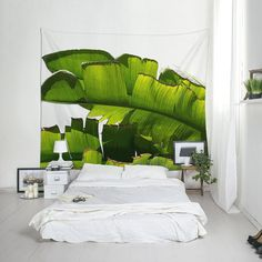 Banana Leaf Wall Tapestry, Tropical Wall Art, Green Tapestry, Illustration Print, Wall Decorating, Banana Tree Art, Beach Tapestry
