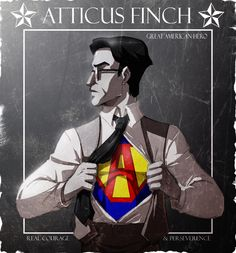 Atticus Finch being portrayed as a Superman like figure. Atticus is the hero for many people figuratively. Literally he was the hero in the black community. Atticus Finch, Book Art, Literary Heroes, Mocking Birds, To Kill A Mockingbird, Bird Drawings, Illustrations, Book Worms, Graphic Design
