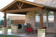 Gabled cover with Outdoor-Kitchen