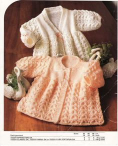Knit Baby Cardigans and sweater Round neck and V-neck Vintage Knitting Pattern 19 inch chest Matinee jacket jumper PDF Instant Download