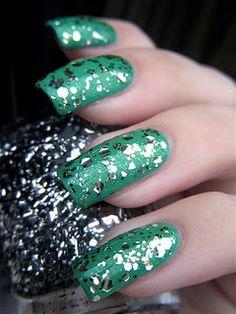 Color Club Orna-Minted over China Glaze Four Leaf Clover by I Drink Nail Polish.