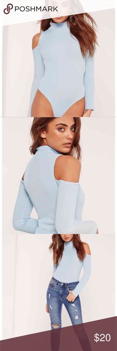 Ribbed high neck bodysuit Off shoulder high neck ribbed blue bodysuit Missguided Tops Tees - Long Sleeve