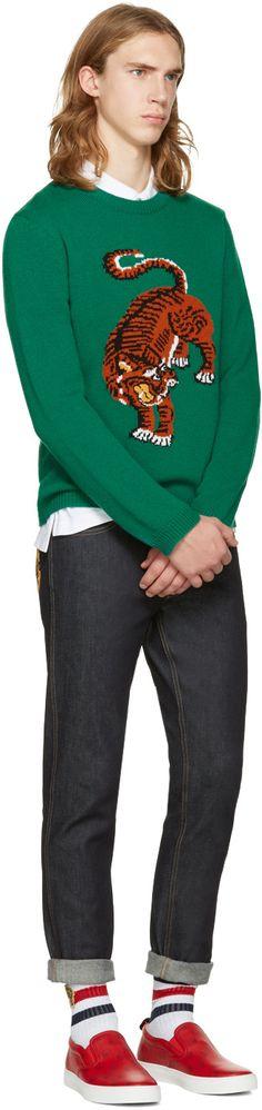 Gucci: Green Tiger Sweater | SSENSE