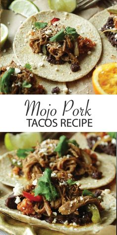 taco recipes Mojo Pork Tacos Recipe with Mexican Rice - Classic orange juice and lime juice mojo marinated pork shoulder that is seared and braised to perfection then shredded and served on a taco with black beans, Mexican Rice, Peppers and cotija cheese. Cotija Cheese, Cheese Tacos, Mexican Cheese For Tacos, Mexican Pork Tacos, Shredded Pork Tacos, Cuban Pork, Pork Recipes, Cooking Recipes, Healthy Recipes