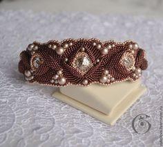 Купить Браслет Шоколад с лепестками роз - розовый, бронзовый, розовое золото, роза, цветок