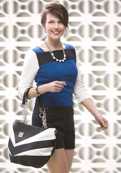 We are loving this color-combo paired with our black  white Rita Shell! #michefashion #fashion #springfashion