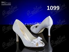 Wholesale Wedding Shoes - Buy Cute Peep-Toe High Heel8-9CM White Satin Wedding Shoes With a Bow Bridal Shoes Sandals,1099#, $89.77 | DHgate