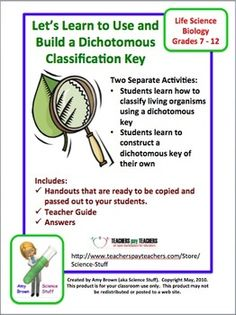 Let's Learn to Use and Build a Dichotomous Classification Key!  This product teaches students all about dichotomous classification keys. Students will learn why classification is necessary, the definition of a dichotomous key, and how to use a dichotomous key.  $