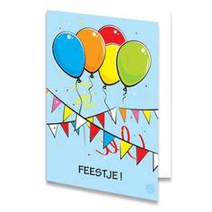 Een verjaardagskaart voor een kind van gekleurde ballonnen, slingers en confetti. Onderaan staat de tekst ''FEESTJE!'' geschreven. De achtergrondkleur is lichtblauw. De binnenkant van deze verjaardagskaart is helemaal wit, daar kun je zelf nog teksten en foto's of allerlei leuke afbeeldingen aan toevoegen.