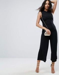 da28d408b7 Asos Jumpsuit With Wrap Front And Tie Back Long Jumpsuits