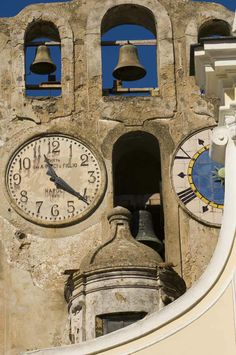 Church Clock Anacapri Italy, province of Naples , Campania region , Italy