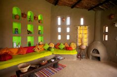 Lakshman Sagar Resort - tradition, ecology and contemporary culture Indian Home Design, Indian Home Decor, Cob House Interior, Mud House, Rooftop Design, Village House Design, Contemporary Interior Design, Cottage Design, Traditional House