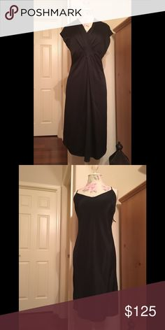 Black silk Max Mara dress w cap sleeves. Black silk cap sleeve Max Mara dress.  Bodice is cross body and gathers to an empire waist.  Timeless and classic dress.  Has side zip and comes with silk black slip.  Max Mara runs small on me.  Size 8 fits like a 6. MaxMara Dresses Midi