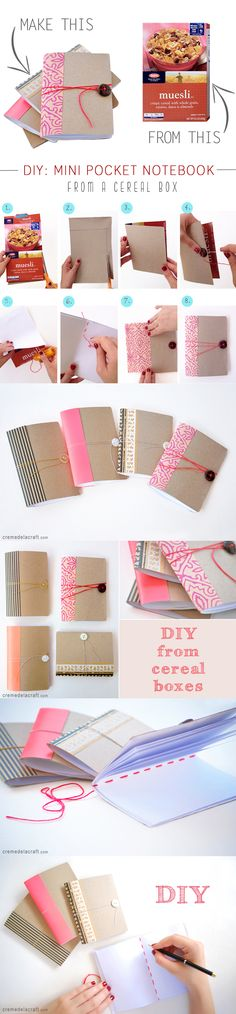 How to make a mini book from a cereal box // Cómo hacer un block de notas con…
