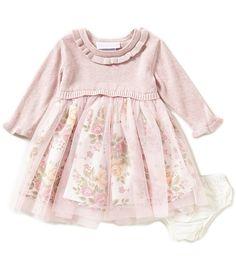 Bonnie Baby Baby Girls Newborn-24 Months Popover Floral Mesh Dress