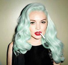 Mint green hair.