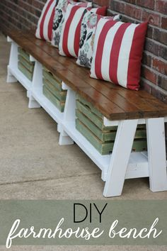 Want to add more seating (and storage) to your outdoor space? Create a DIY farmhouse bench with an option for extra storage underneath.