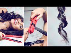 Como fazer cachos com a chapinha ♥ // How to curl your hair with a strai...