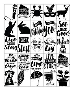 Free Printable-Get Inspired Quote Black and White Planner Sticker Sheets for…