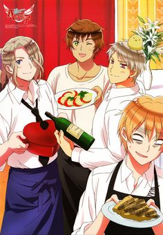 Prussia, Spain, France, and England, Hetalia The Beautiful World