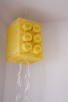 lego PULL pinata with crepe paper