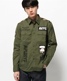 AAPE(エーエイプ)のAAPE L/S SH(シャツ/ブラウス)|カーキ