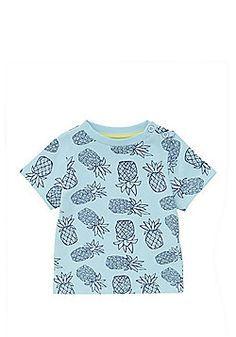 F&F Pineapple Print T-Shirt - Blue