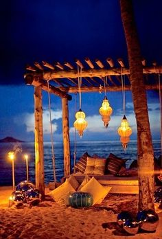 Romantic beach relaxing bed