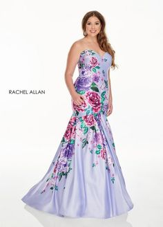 Style 7238 from Rachel Allan Curves is a floral print satin plus size mermaid gown that has a strapless sweetheart neckline.