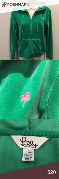 """Lilly Pulitzer Vintage Velour Hoodie This white label Lilly is cozy and cute! Exceptional vintage condition. No stains, tears or pilling. Size Medium. Features front pockets, drawstring hoodie and zip front closure. Measures 19"""" across front from underarm to underarm. 21"""" in length. Lilly Pulitzer Jackets & Coats"""