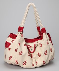Red & White Anchor Tote