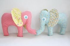 These homemade, stuffed elephant baby toys are a cute gift idea that you can make yourself!     #DIYelephants #DIYbabygift #babyshowergift