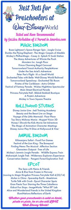 Great list of preschool friendly attractions at Walt Disney World