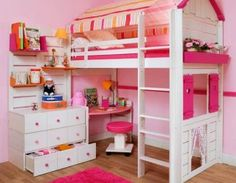 Planning to build a loft bed for kids in the nursery? Get creatively inspired with these delightful kids loft beds ideas in our gallery! Corner Bunk Beds, Girls Bunk Beds, Bed For Girls Room, Boy Girl Bedroom, Bunk Beds With Stairs, Little Girl Rooms, Kid Beds, Loft Beds, Cool Beds For Kids
