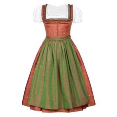 Silk Dirndl with silk apron from Lena Hoschek Tradition. All our Dirndl are produced with outmost care in selected european factories. Traditional Jacket, Traditional Dresses, Dirndl Blouse, Ribbon Skirts, Couture Dresses, Evening Gowns, Fashion Outfits, Summer Dresses, Women