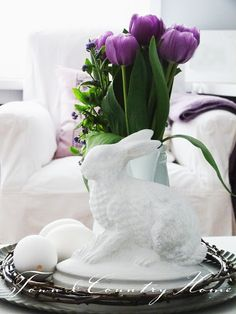 Easter Place Setting and Centerpiece Idea   from town country home