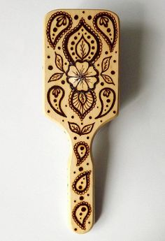Indian Art Wood burning Pyrography Hair Brush by MyCraftmania