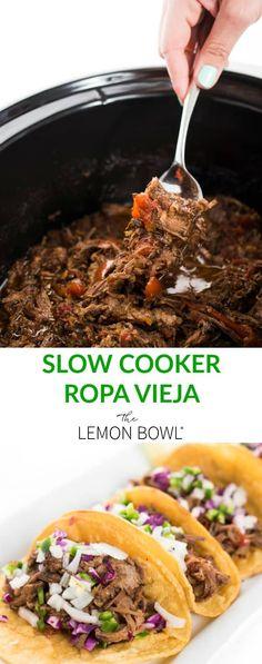 Slow Cooker Ropa Vieja – The Lemon Bowl®️️ - Crockpotrecipes. Crock Pot Recipes, Slow Cooker Recipes, Beef Recipes, Mexican Food Recipes, Cooking Recipes, Healthy Recipes, Crockpot Ideas, Crock Pot Slow Cooker, Crock Pot Cooking