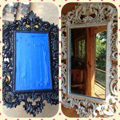 Black framed mirror, I antiqued the frame.